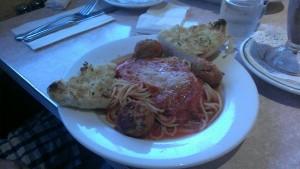 Great marinara sauce doused over spaghetti and meatballs.