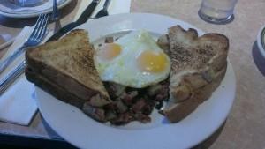 Juicy corned beef with eggs.