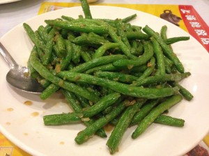 The sweet and salty string beans were delicious, sprinkled with chopped onions.