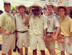 Michael Scallan '14, Jack Tilly '14, Vrain Ahuja '14, Evan McClain '14, and Luka Cargonja '14 participate in Thursday's Safari Day. Photo courtesy of Jack Tilly.