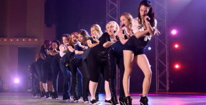 "A scene from the Bella's final performance in ""Pitch Perfect."""