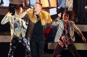 Macklemore performing at The Grammy Nominations.