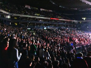 "The crowd in the Oracle Arena watched their favorite bands perform on night two of Live 105's ""Not So Silent Night."""