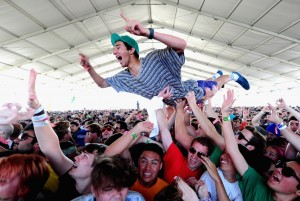A fan crowd surfing at Coachella 2012. photo from: http://www.rsvlts.com/category/art/music/coachella/