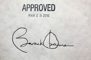 President Obama's signature on the law was used as a rallying picture for Democrats (Wikipedia)