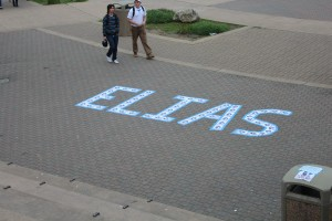 Some candidates got creative with their publicity by arranging their flyers in different ways. Junior candidate Elias Sebti spelled out his name in the quad.