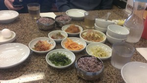 An assortment of small Korean dishes