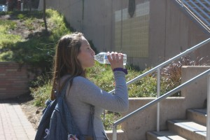 Junior Gianna Schuster carried a bottle of water throughout the day, drinking long before (and after) any workouts.