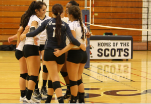 Players on the court huddle together after scoring a point