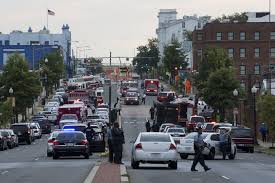 What the street where the Navy Yard is located looked like after the shooting. Source: Yahoo News