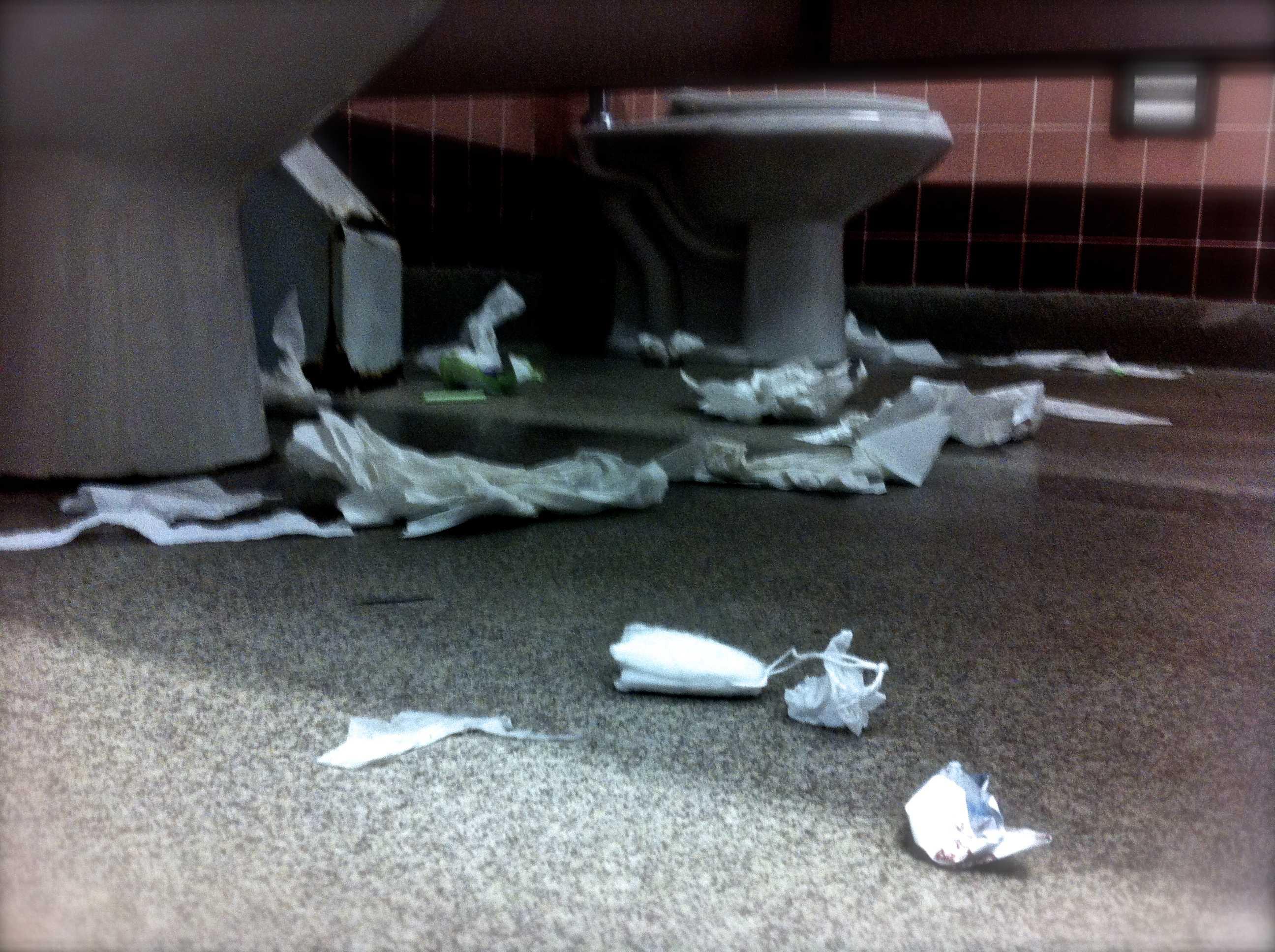 Watch your step in C hall bathroom; something lurks around every corner.