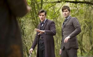 The 10th Doctor (David Tennant) and the 11th Doctor (Matt Smith) meet the War Doctor (John Hurt).
