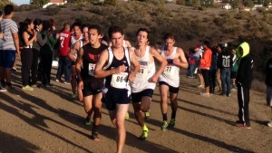 Ryan Dimick leads the pack at Saturday's CCS Cross Country championship meet.