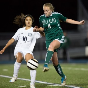 Sophomore Kayla Fong steals the ball from a Palo Alto defender.