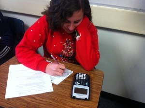 Senior Kalila Kirk takes a math test.