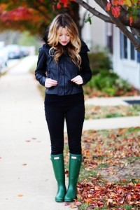 Leather jackets and Hunter rain boots are choice clothing items during the rainy season.