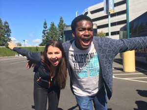 Juniors Dario Johnson and Raine Kerhin excitedly pose before entering Disneyland on their last day of Choir Tour.