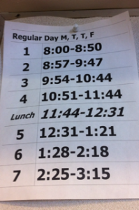 The current regular-day schedule at Carlmont